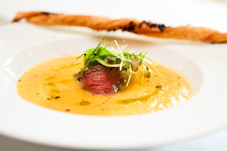 potato soup: Sweet potato cream soup with roast beef