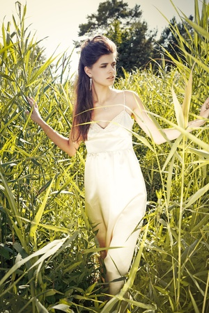 Young woman wearing white dress in a meadow photo