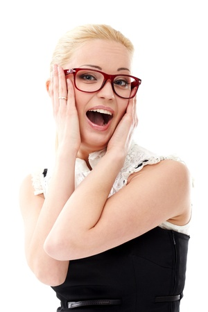 Young lady in glasses on white background photo