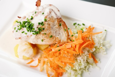 Chicken Stuffed with cream cheese, tomato, carrot and cabbage salad photo