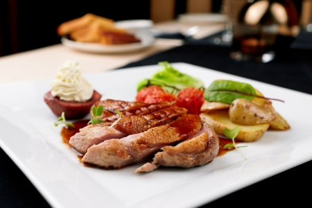 mascarpone: Roasted duck with pear,marinated in red wine and mascarpone rose