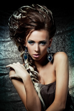 Vogue style portrait of a woman with creative hairstyle and makeup Stock Photo - 11884203