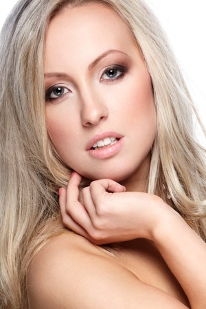 Closeup portrait of a beautiful female model photo