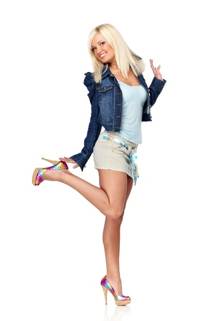 sexy babe: Young blond woman in casual clothes isolated on white