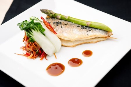 Bream fish with asparagus, vegetables, fried wok and Teriyaki sauce Stock Photo - 13198258