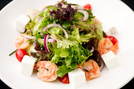 Greek salad with feta cheese and smoked shrimp Stock Photo - 13281239