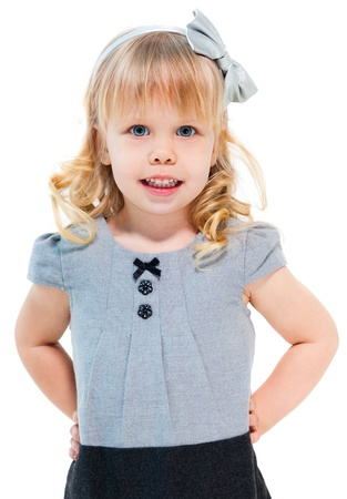 Little blond girl smiling isolated on white background Stock Photo - 13620827