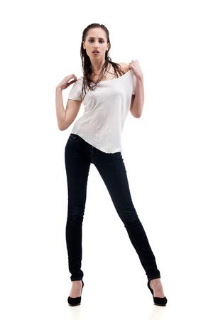 Portrait of sexy female model on white background photo