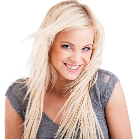 Jugend niedlich lächelnde Mädchen isoliert auf weiß Standard-Bild - 14055364
