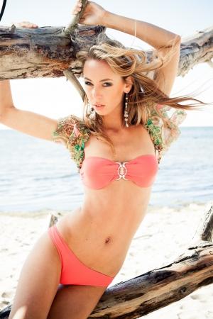 arboles secos: Mujer joven en bikini posando junto a un tocón en una playa Foto de archivo