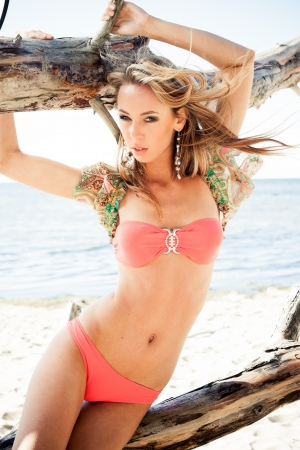 sexy bikini girl: Young woman in bikini posing near a snag on a beach Stock Photo