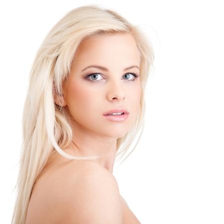girls naked: Портрет чувственный молодая блондинка на белом фоне
