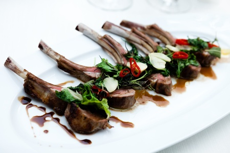lamb meat: Grilled lamb chops with herbs