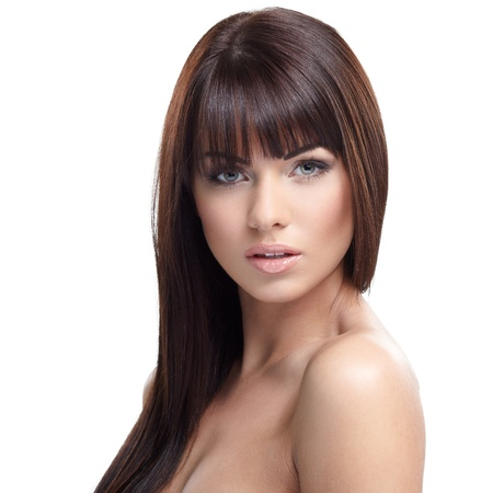 nude fashion model: Portrait of beautiful female model on white background