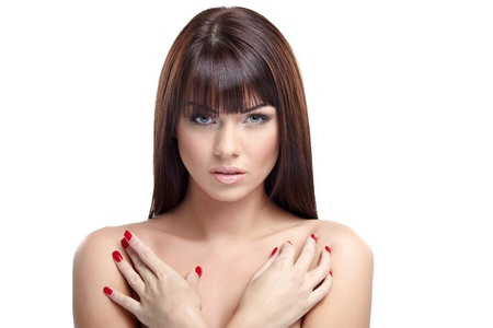Portrait of beautiful female model on white background Stock Photo - 16140095
