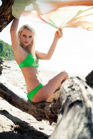 arboles secos: Mujer joven en bikini posando junto a un gancho en una playa