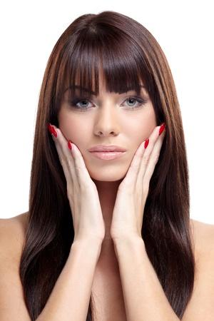 Portrait of beautiful female model on white background Stock Photo - 16546229