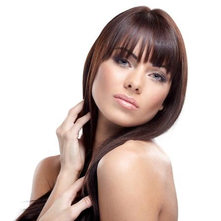 Portrait of beautiful female model on white background Stock Photo - 16546231