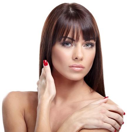 Portrait of beautiful female model on white background Stock Photo - 16549704
