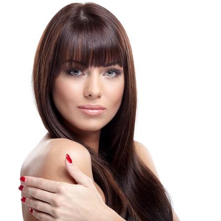 Portrait of beautiful female model on white background Stock Photo - 16695375