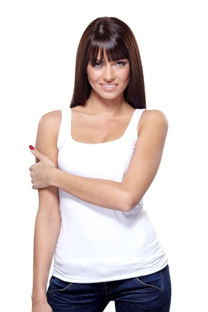 Glamorous young woman in white shirt on white background Stock Photo - 16695369