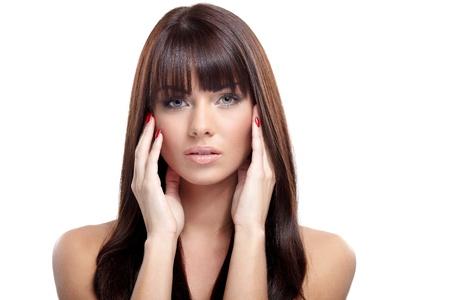 Portrait of beautiful female model on white background Stock Photo - 16695379