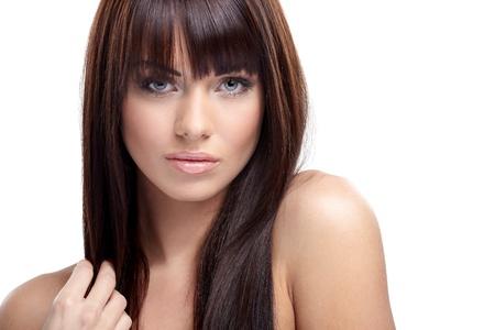 beautiful nude woman: Portrait of beautiful female model on white background