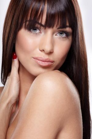 Portrait of beautiful female model on white background Stock Photo - 17049456