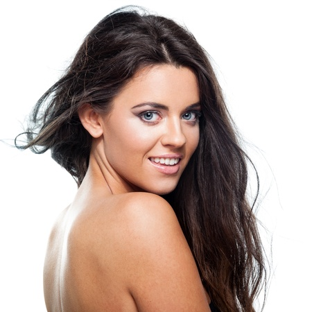Young brunette lady with a beautiful hair on white background Stock Photo - 17445119