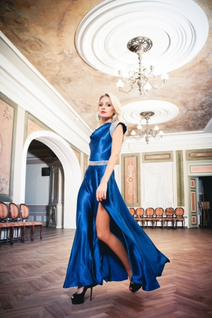 Beautiful blond woman in vintage inter Stock Photo - 17457695