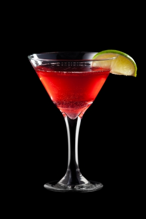 Cosmopolitan coctail isolated on black background