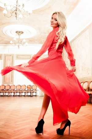 Beautiful blond woman in vintage interior Stock Photo - 17547401