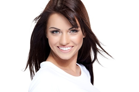 hot lady: Glamorous young woman in white shirt on white background Stock Photo