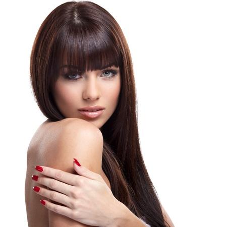 naked lady: Portrait of beautiful female model on white background