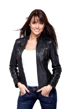 straight jacket: Glamorous young woman in black leather jacket on white background