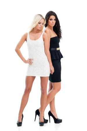 Zwei glückliche Freundinnen posieren auf weißem Hintergrund Standard-Bild - 17566285