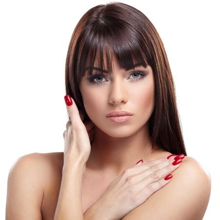 Portrait of beautiful female model on white background Stock Photo - 17664279