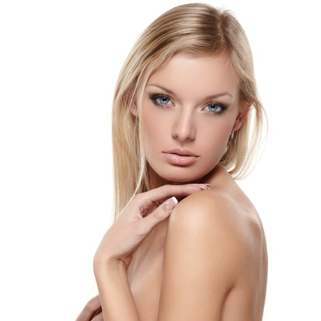 blond nude: Portrait of beautiful female model on white background