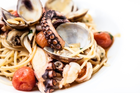Pasta with octopus, mussles and other seafood