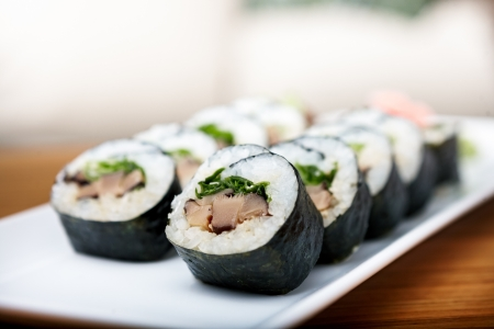 sushi plate: Rolls with shiitake mushrooms served on a plate Stock Photo