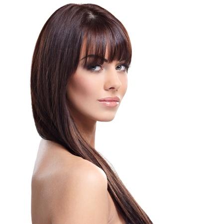 naked woman  white background: Portrait of beautiful female model on white background