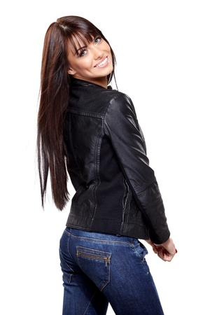 Glamorous young woman in black leather jacket on white background Stock Photo - 18215668