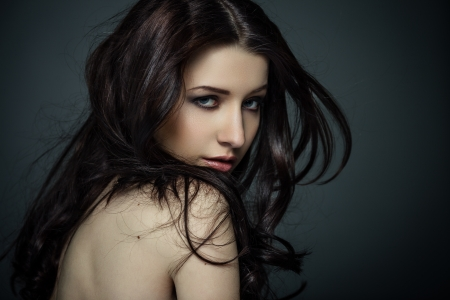 nude female body model: Portrait of beautiful female model on gray background