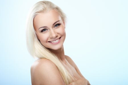 Young blond lady with a beautiful hair  photo