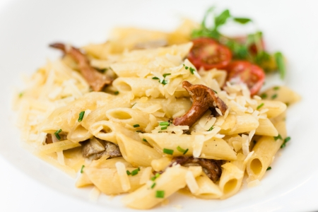 Pasta with porcini and chanterelle mushrooms in light cream sauce photo