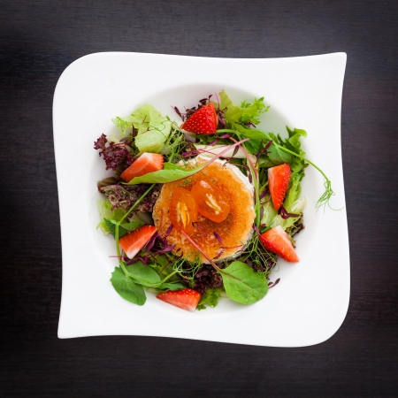 goat cheese: Warm goat cheese salad with melon and strawberries