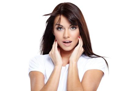 sexy young girls: Молодая симпатичная девушка поражен на белом Фото со стока
