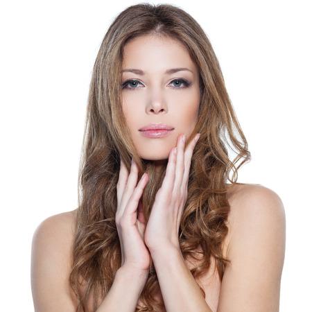 elegance fashion girls look sensuality young: Portrait of beautiful female model on white Stock Photo