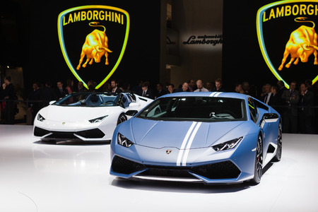 lamborghini: GENEVA, SWITZERLAND - MARCH 1: Geneva Motor Show on March 1, 2016 in Geneva, Lamborghini Huracan LP 610-4 Avio, front view