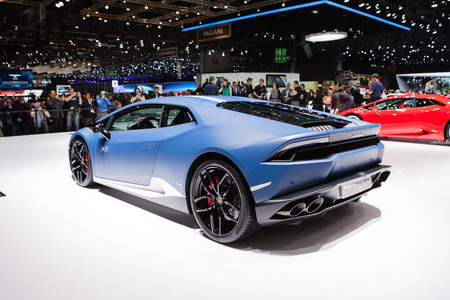 lamborghini: GENEVA, SWITZERLAND - MARCH 1: Geneva Motor Show on March 1, 2016 in Geneva, Lamborghini Huracan LP 610-4 Avio, rear-side view